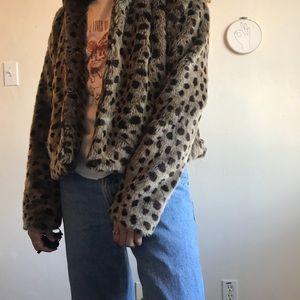 Free People Cheetah Fur Jacket
